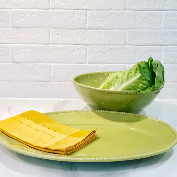 Euro Ceramica Algarve Stoneware Oval Platter and Serving Bowl Set, Embossed Edges, Green