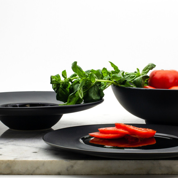 """The 12"""" 10oz (eating surface 5.25"""") fashionable soup plate is perfect for that occasion in which you really need to turn it up a notch! No guest will fail to be impressed by the unique shape with a large matte rim and glossy bowl surface."""