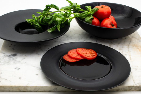 Every piece in the collection is made of professional grade-grade stoneware, built to last through everyday wear and tear without chipping. Dishwasher and Microwave safe; Lead- and Cadmium-free.