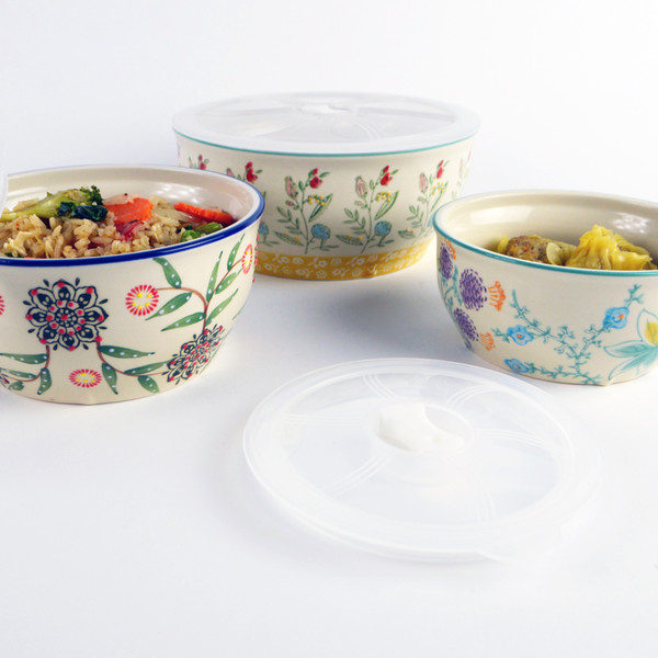 Ella Storage bowls nest for easy storing. The Ella Bowl collection consists of a 2 piece Ramen Bowl set available with a red or aqua rim with coordinating floral motifs and a 3 piece storage bowl set. Bowl Size: Small: 5 x 5 x 2.28, 14oz; Medium: 6 x 6 x 2.76, 26oz ; Large: 7.3 x 7.3 x 3.11, 42oz Capacity.