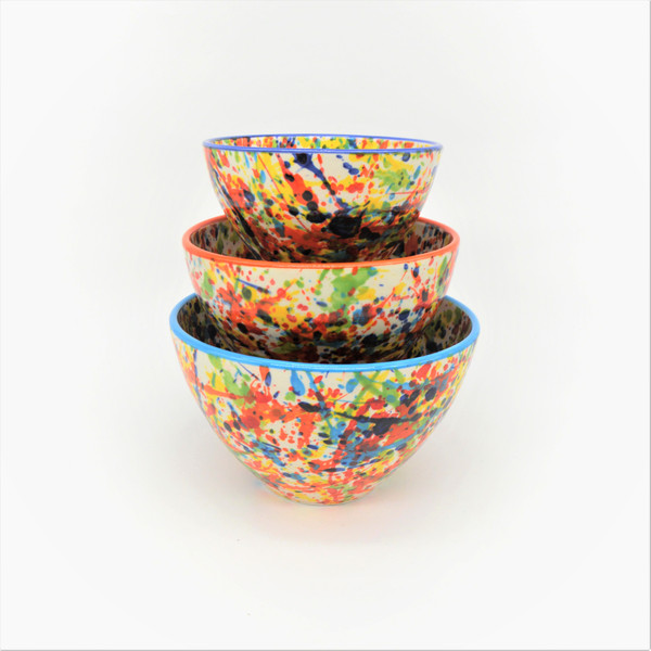 """The Stacking Bowl set includes a small (6""""), medium (8""""), and large (9"""") stacking bowl. This cute trio is perfect for every step of meal prep, from mixing ingredients and holding chopped veggies straight to the table for a charming display. Dishwasher and Microwave safe, Pintura lends itself to that every night casual meal, but can also easily be dressed up for a full tablescape."""