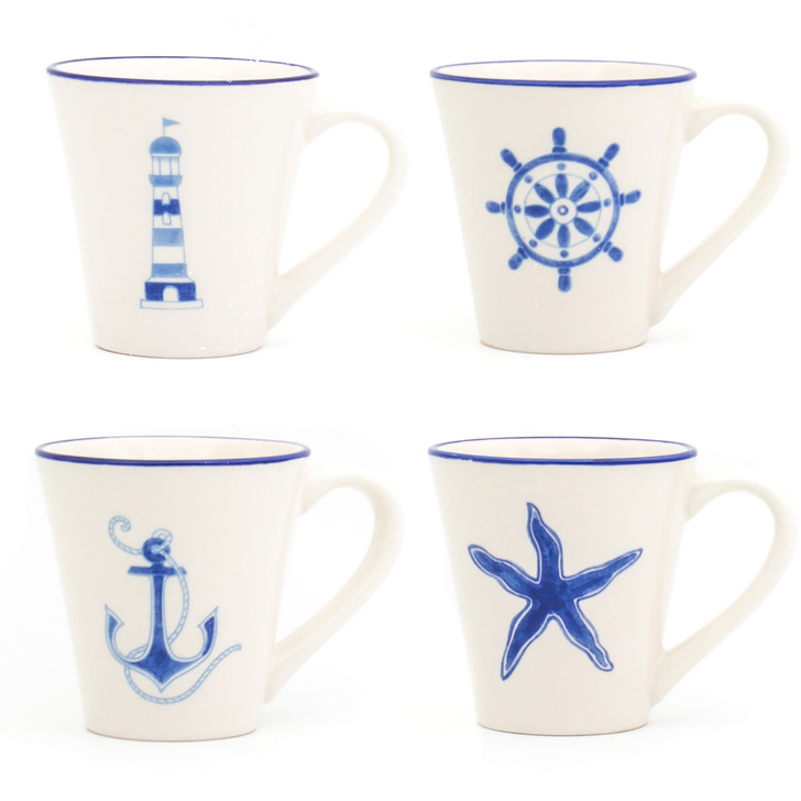 Ahoy Assorted Mugs, Set of 4