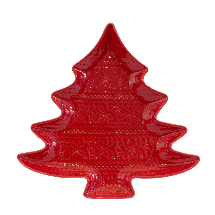 a red tree-shaped platter for cookies