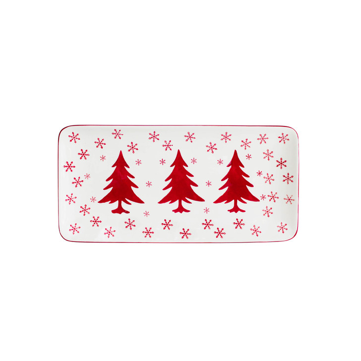 white rectangular platter with snowflakes and three red trees