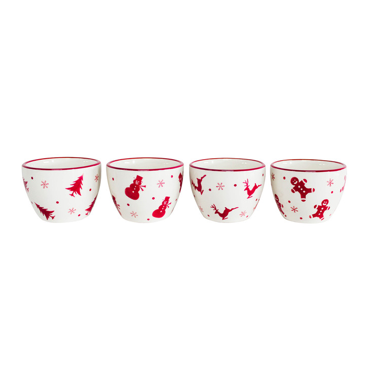 four white small dipping bowls with red trees, snowmen, reindeer, gingerbread men and snowflakes