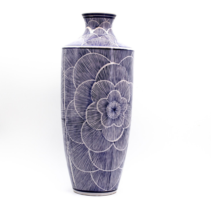 Tall blue vase with hand-painted line art design showing a large flower in bloom