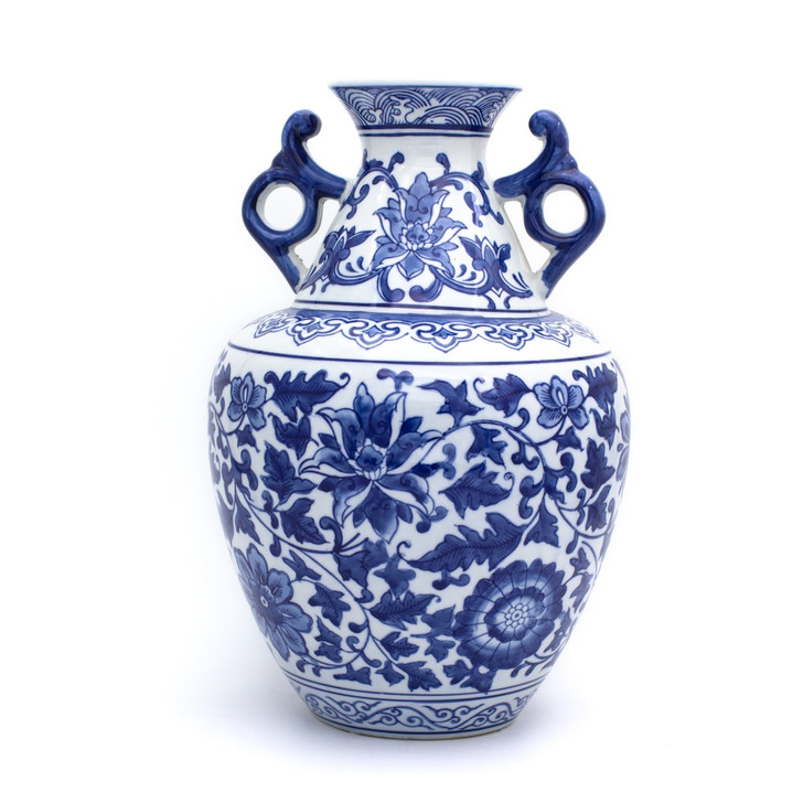 Traditional chinese blue and white handled vase