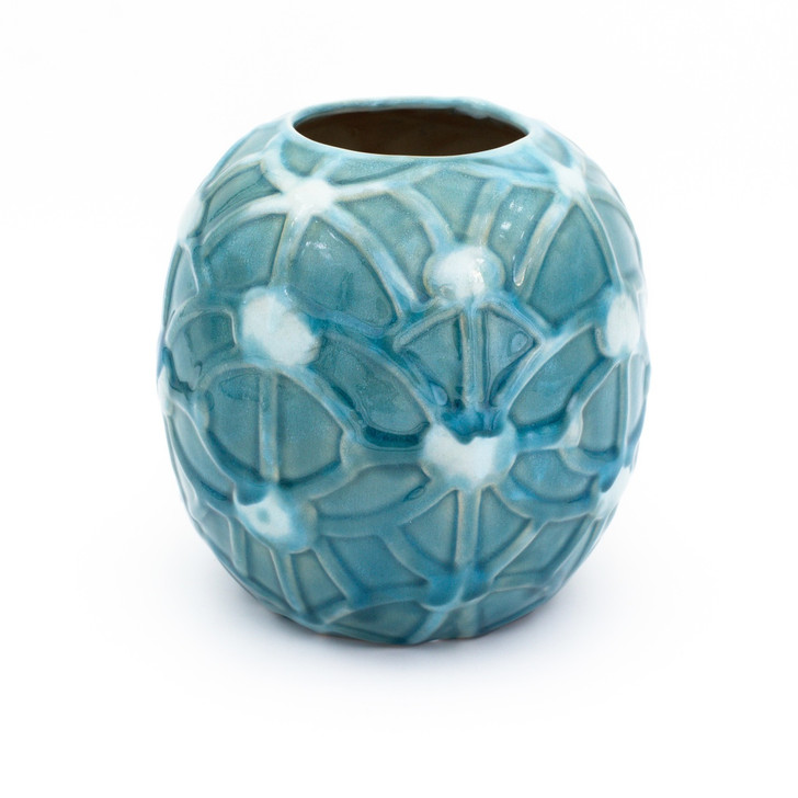 Small round turquoise vase with an embossed rope design
