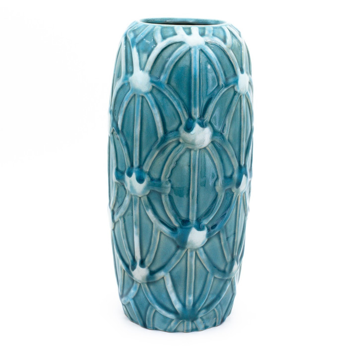 Skinny tall turquoise cylinder vase with an embossed rope design