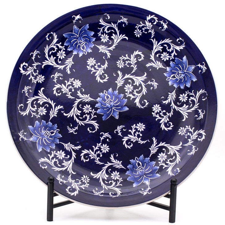 dark blue large decorative plate with hand-painted lotus design upright in a black stand (included)