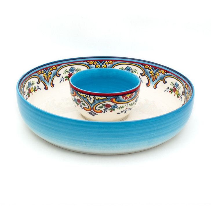 Zanzibar Chip and Dip Set is a perfect presentation style for serving salsa and chips, guacamole and pita, but also versatile enough to use during any occasion or season.