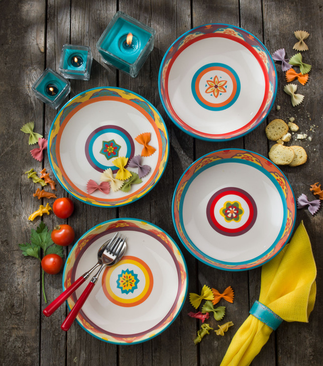 The mix-and-match colorful Euro Ceramica Galicia bowls, Set of 4, allow for near limitless options for creative place settings.