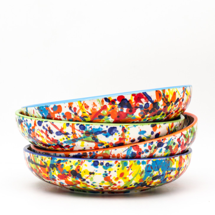 Experience the joy of painting with the Pintura Collection by Euro Ceramica. Completely hand-painted by Spanish artisans, every splash and pulse of the Pintura design is unique to the character of that piece. With no two plates exactly alike, the exciting explosion of color will lend endless variation and excitement to any table or meal.