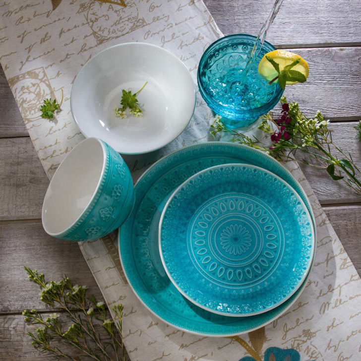 16 Piece Fez Double Bowl Dinnerware Set in turquoise with crackle glaze and a traditional mandala design. A full set shows all the individual pieces that complete this service for 4 set. Full Set includes: 4 Dinner Plates, 4 Salad Plates, 4 Soup Bowls, and 4 Cereal Bowls.