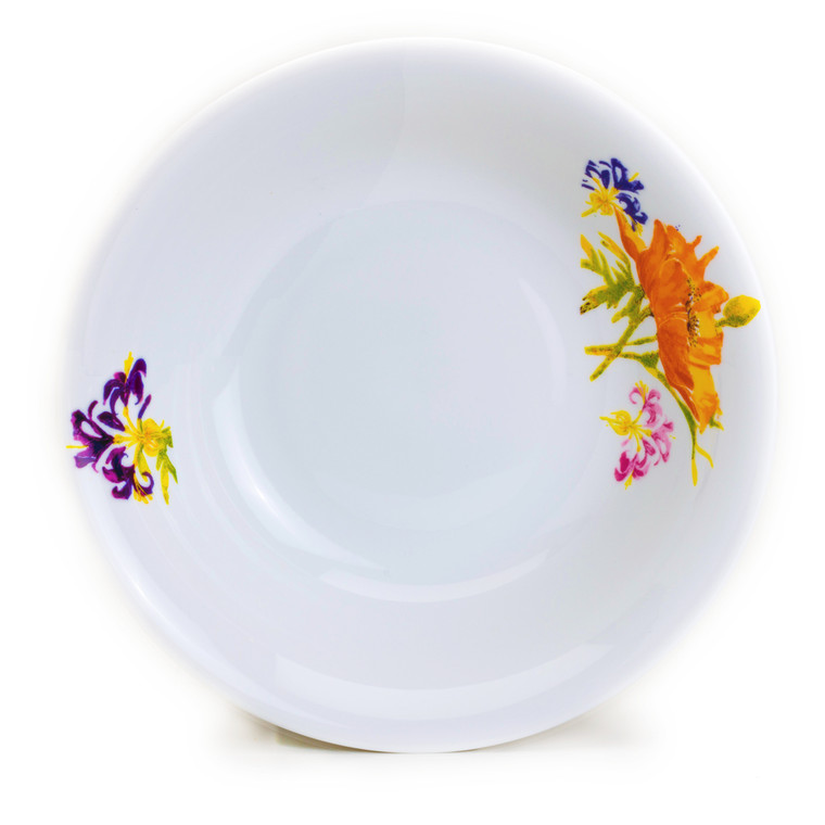 interior of a white bowl with two flower designs on opposite sides