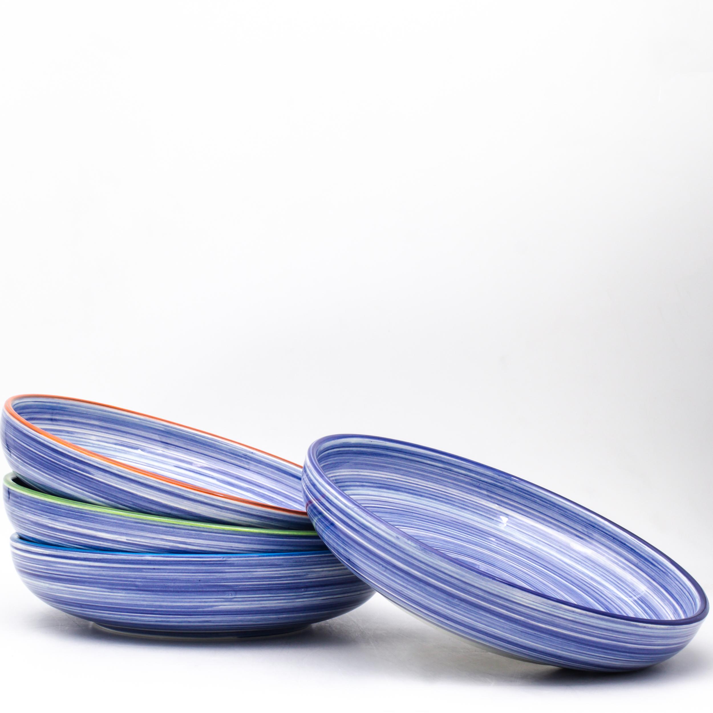 bleu turquoise 4 assiettes Färgrik 4 Pièce Ocean Blue Spaghetti Pasta BOWLS