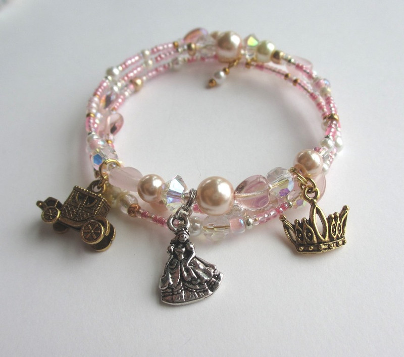 Elegant pink glass pearls and delicate crystals enhance Cinderella's Bracelet