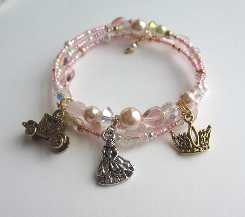 Elegant pink glass pearls and delicate crystals enhance Cinderella's Bracelet