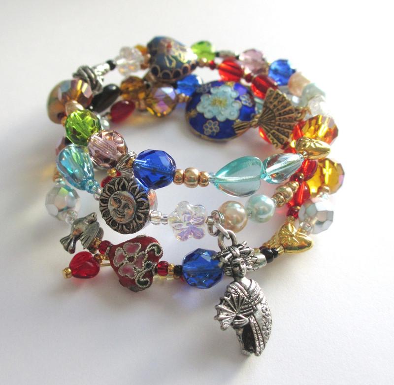 Cloisonne beads evoke ornate Japanese silk patterns on the Mikado Opera Bracelet.