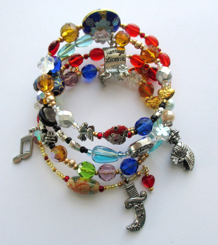 Telling the story of the Mikado with beads and charms.