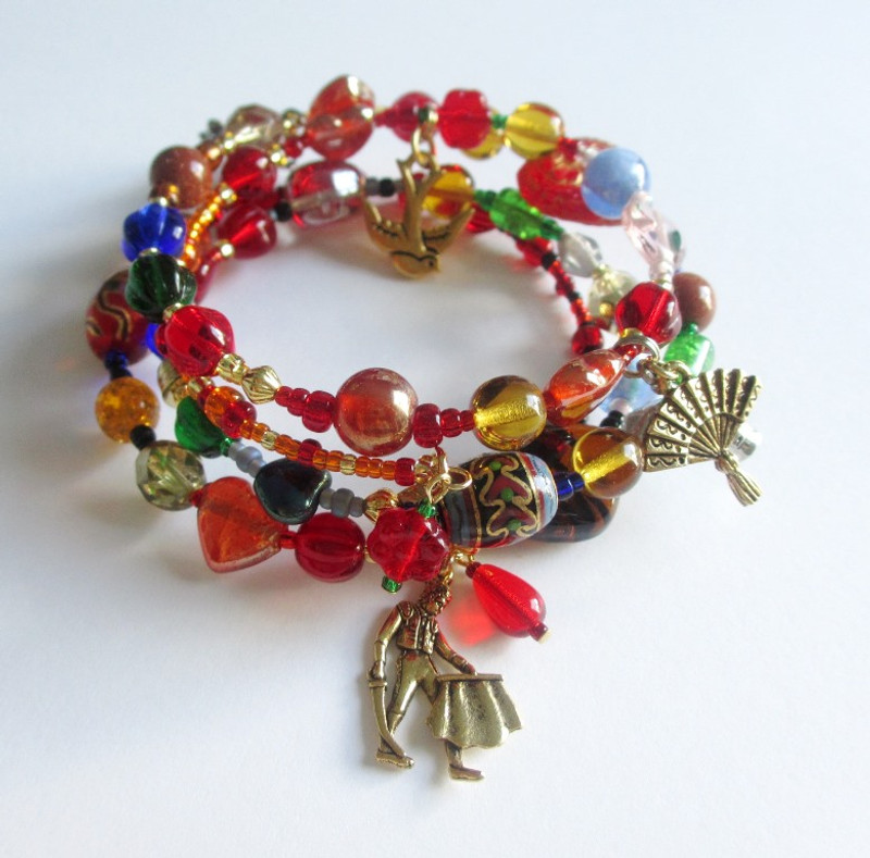 The Carmen Opera Bracelet tells the story with symbolic beads and charms.