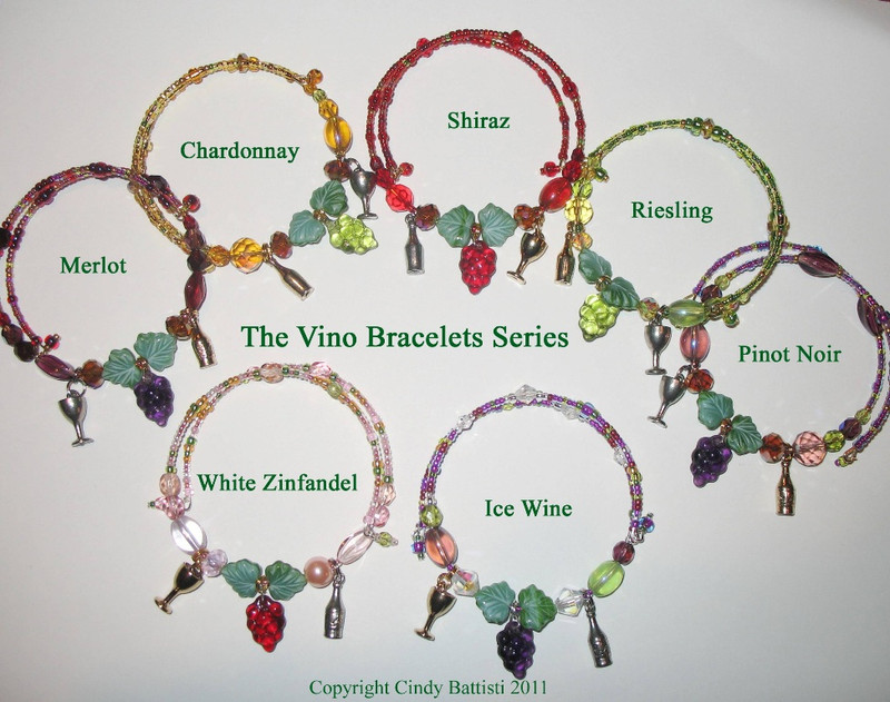 The Vino Bracelets collection- Bracelets celebrating the colors of different varieties of wines. A unique jewelry gift for wine lovers.