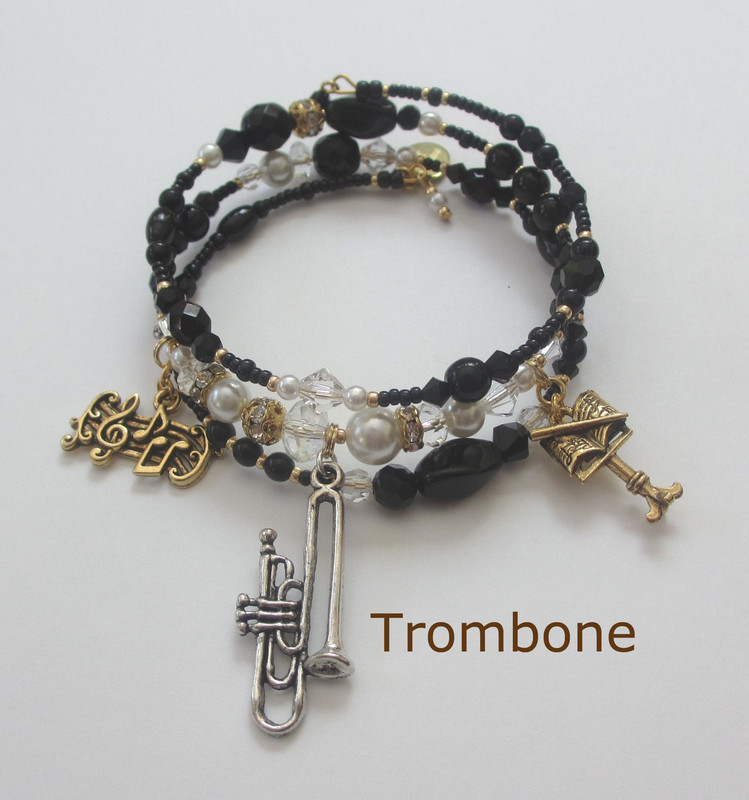 Trombone Charm (silver finish only)