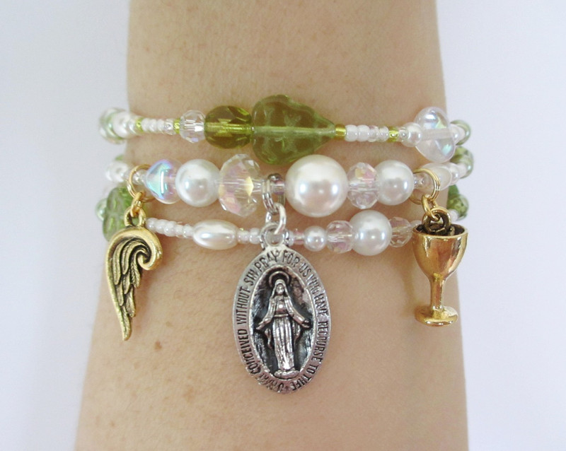 Beads and charms represent the story of Puccini's tragic nun, Suor Angelica.