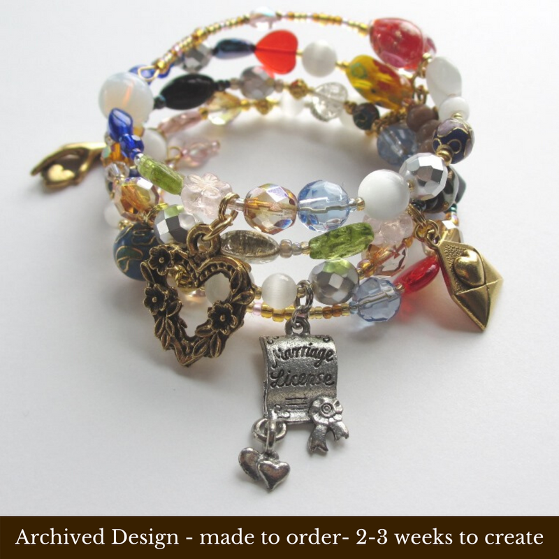 The Don Pasquale Opera Bracelet tells the opera's story with beads and charms.