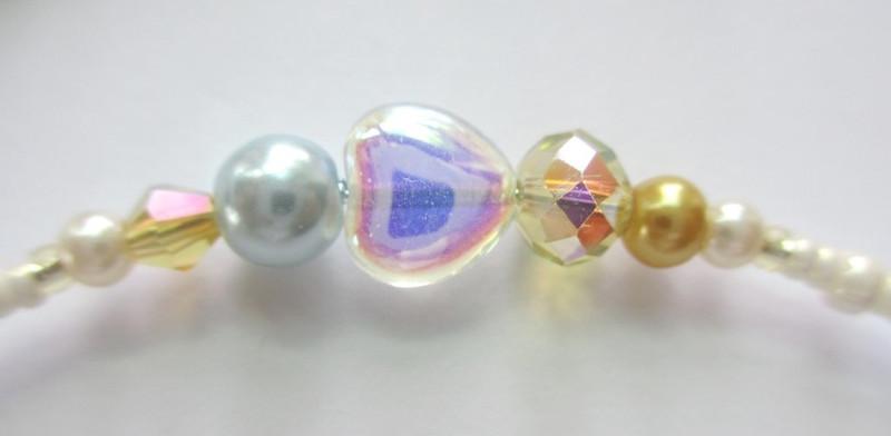 Glass heart detail from the Oklahoma Bracelet