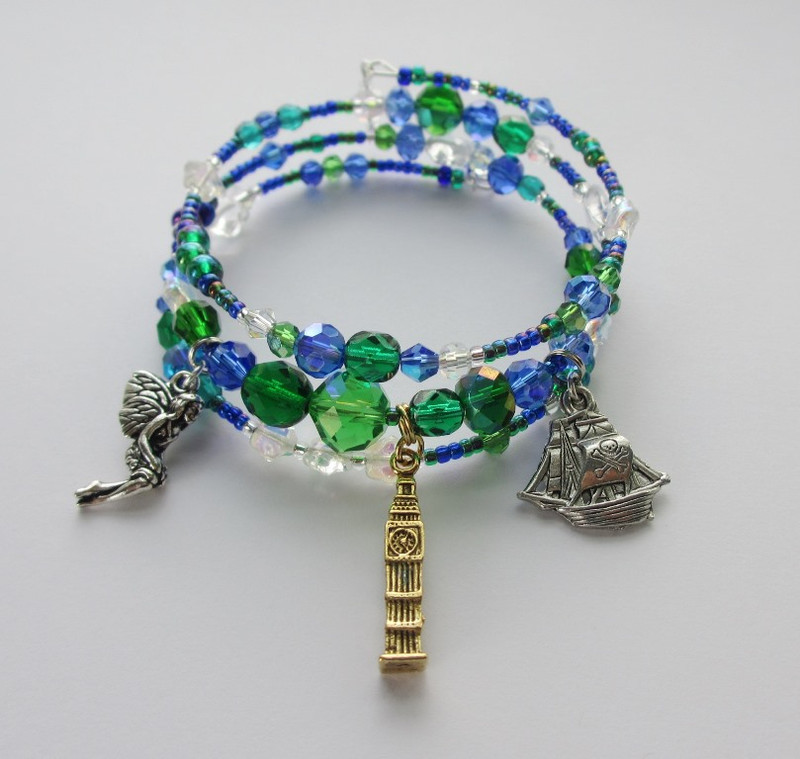 Beads and charms evoke the flight to Peter Pan's Neverland
