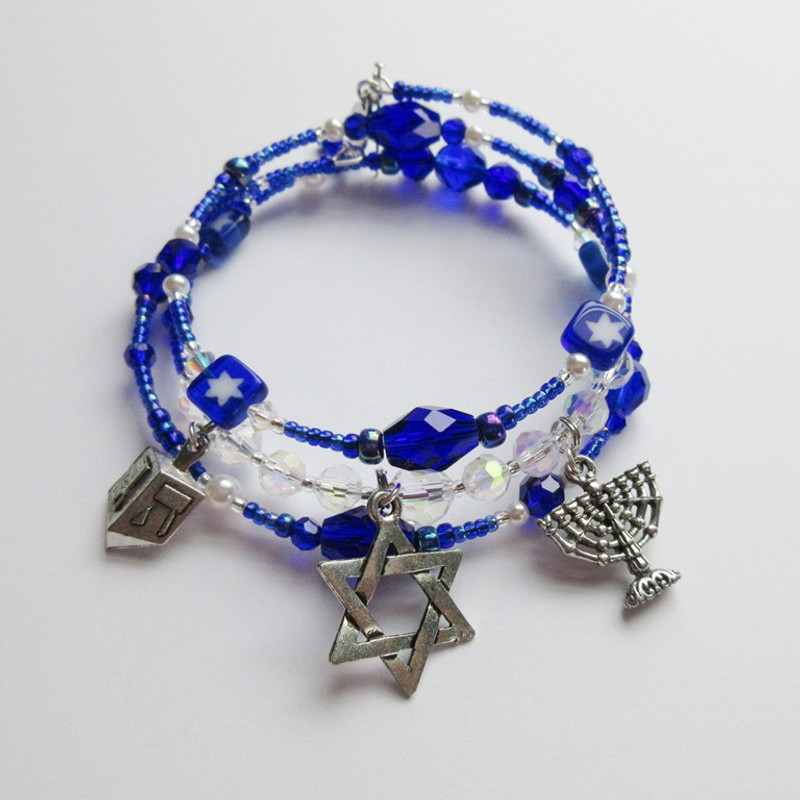 The festival of Lights Bracelets evoking the holiday of Hanukkah.