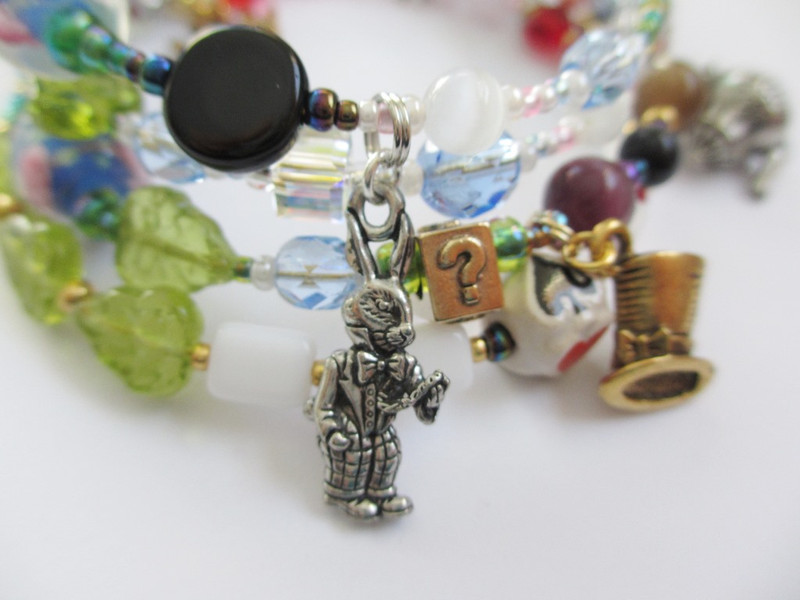 Detail of the Alice in Wonderland Bracelet: White Rabbit