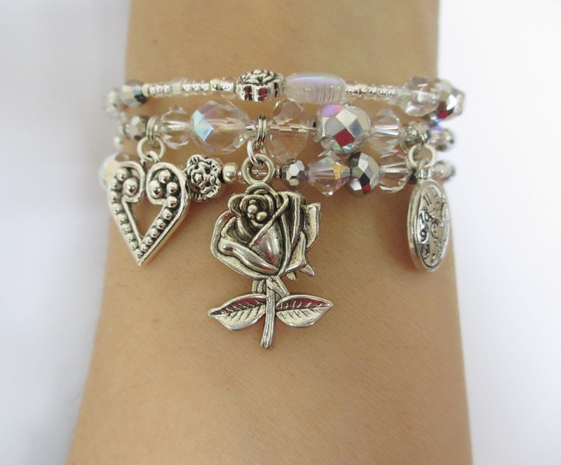 """Wrist view"" of the Silver Rose Bracelet inspired by Der Rosenkavalier by Strauss."