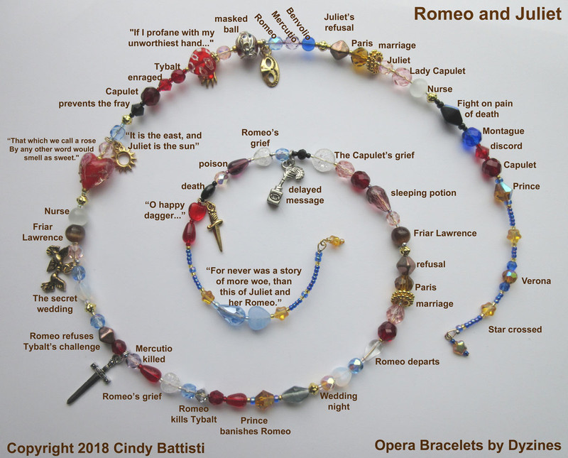 The Romeo and Juliet Bracelet. Bead and charms represent the iconic story.
