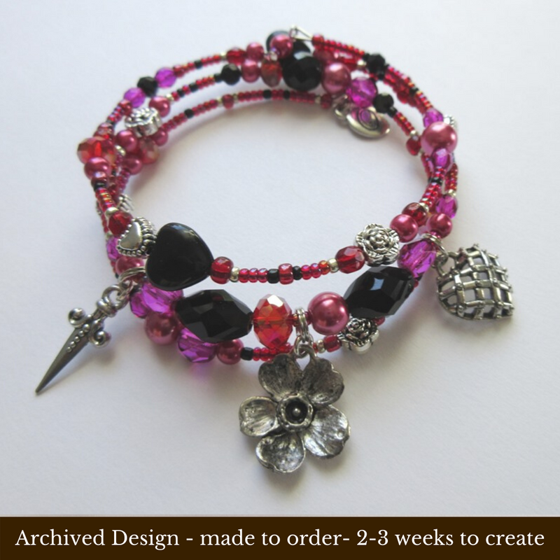 "This bracelet is inspired by the seductive aria ""Mon cœur s'ouvre à ta voix"" from the Saint-Saens opera Samson and Delilah.  Made to order archived design 2-3 weeks for delivery! Beads and charms can become unavailable over time. All effort will be made to come as close as possible to the photographed design."