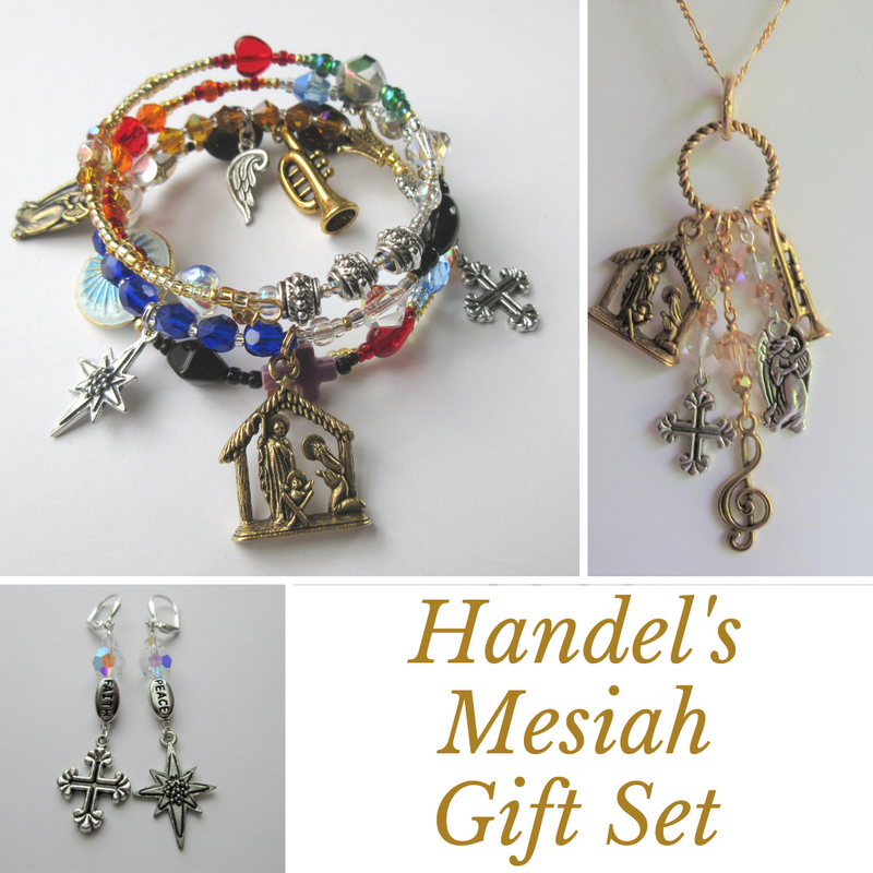 Handel's Messiah gift set of story bracelet, earrings and necklace