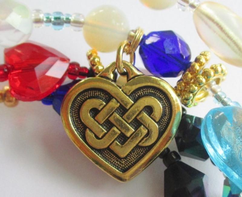 Detail: Celtic heart charm.