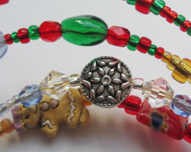 The Nutcracker Bracelet details: Snowflake and Mother Ginger beads.