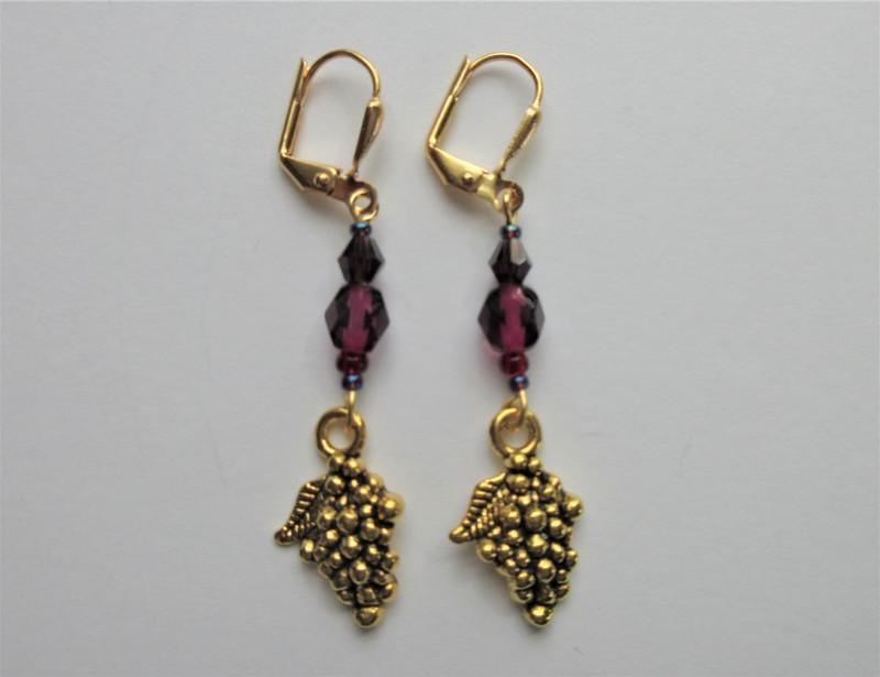 Fuchsia Glass and Grapes Earrings