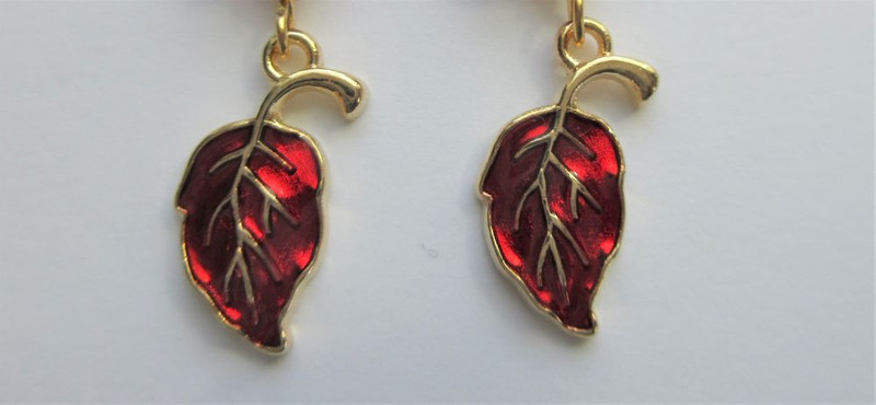 Glass Leaf and Pumpkin with Red Leaf Earrings