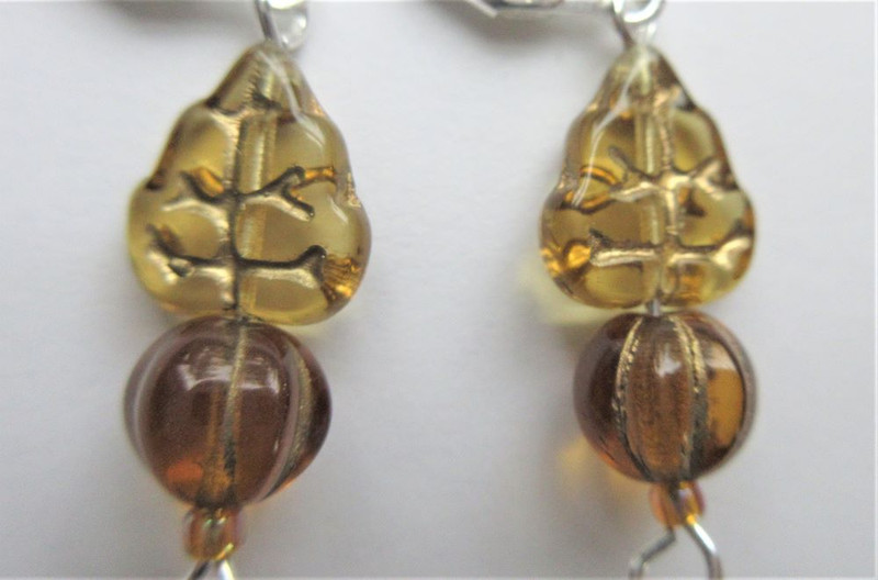 Glass Leaf and Pumpkin with Brown Leaf Earrings