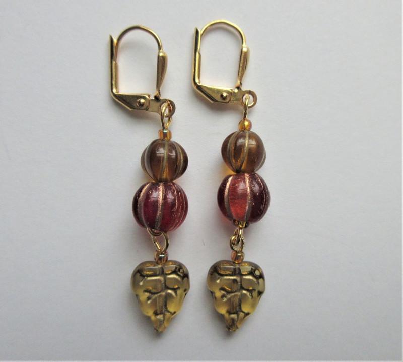 Pumpkins and Glass Leaf Earrings
