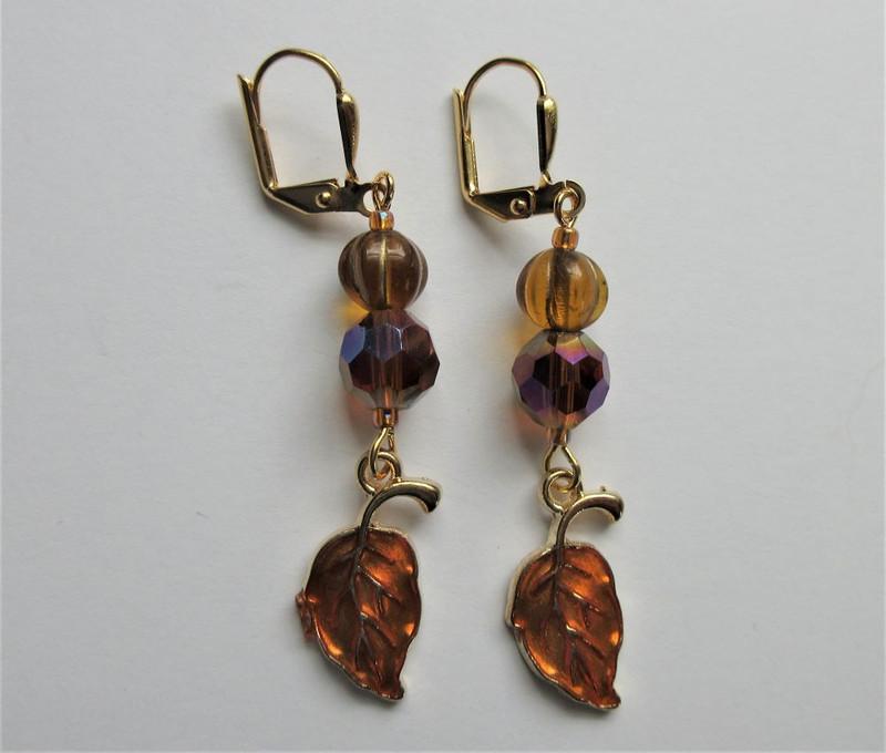 Pumpkin, Crystal, Leaf Earrings