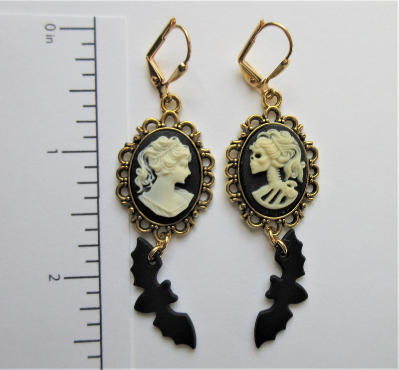 Before and After Earrings with Bats