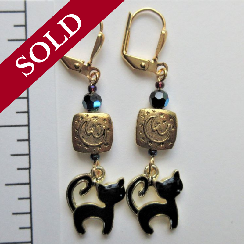 Black Cat and Moon Earrings