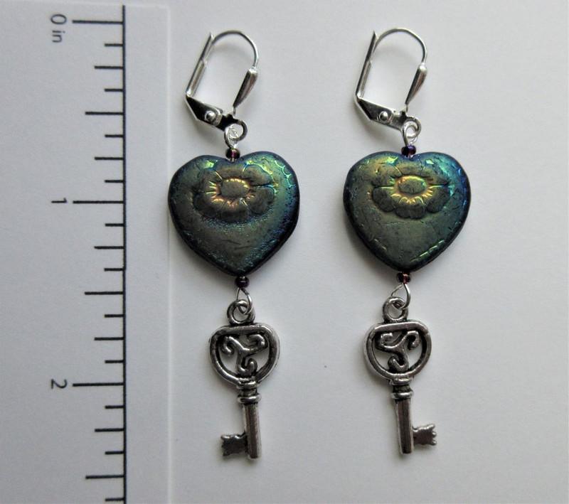 Black Heart and Skeleton Key Earrings 2