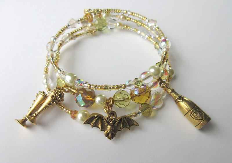 The Bat and Bubbly Bracelet is inspired by Strauss's exuberant opera Die Fledermaus.