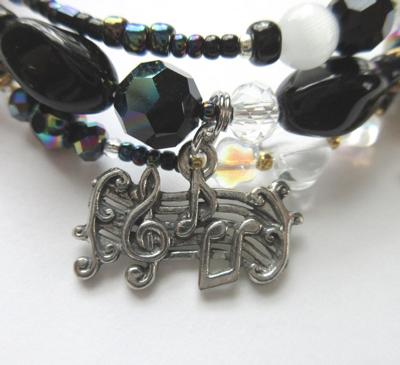 Music detail from the Night Music Bracelet Inspired by Phantom of the Opera
