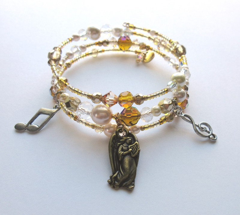Elements of Gaston Leroux's novel, The Phantom of the Opera, inspire the sparkling Angel of Music Bracelet.